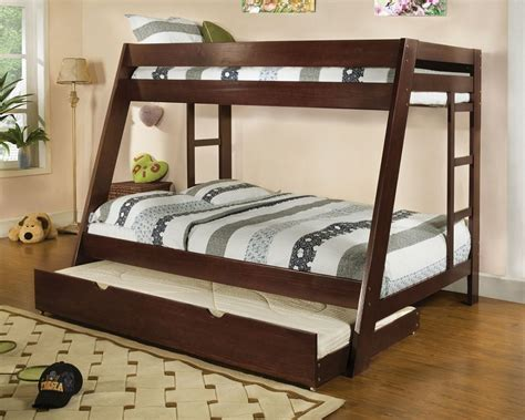 twin over full bunk bed solid wood espresso finish trundle