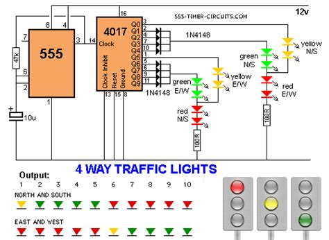 Way Traffic Lights With Seven Segment Countdown Timer