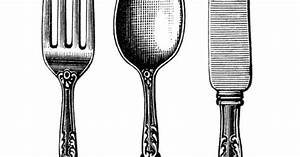 vintage cutlery clipart, black and white clip art, old ...
