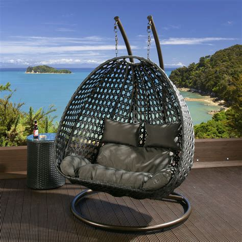 hanging chair for garden outdoor 2 person garden hanging chair black rattan grey cushions 2014 ebay