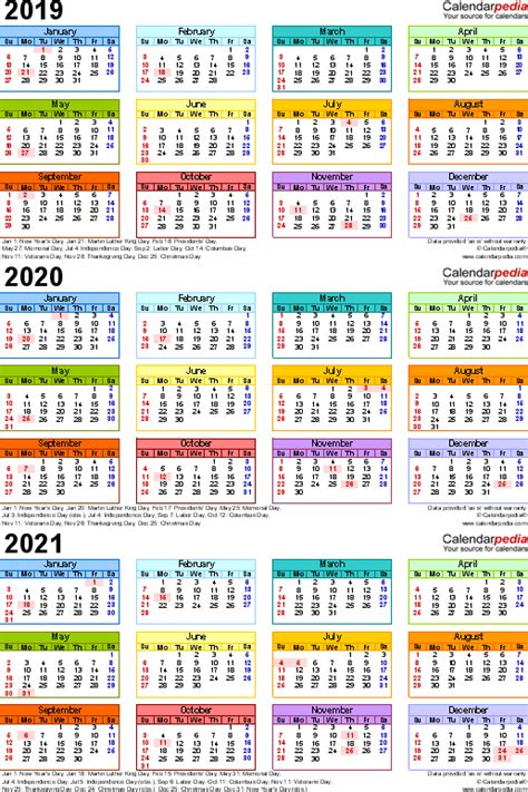 calendar year printable word calendars
