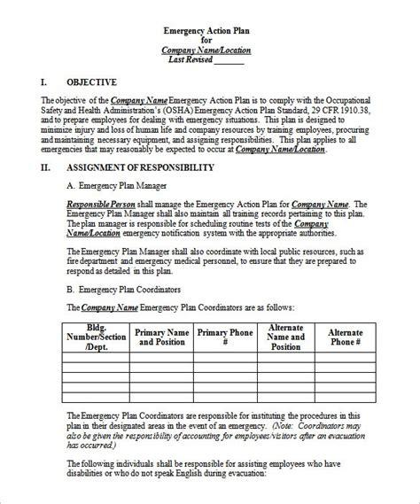 emergency plan template emergency plan template 8 free sle exle format free premium templates