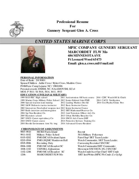 Usmc Professional Resume Template by Cross Resume