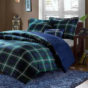 twin blue green plaid comforter set reversible With boys dorm bedding