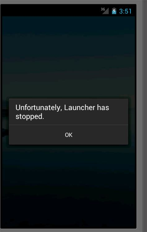 android phone has stopped android 4 0 emulator always has a crashing launcher