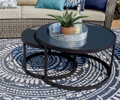 Find coffee table sets at wayfair. Wilson & Fisher Lakewood Double Round Nested Coffee Tables Set - Big Lots in 2020   Coffee table ...