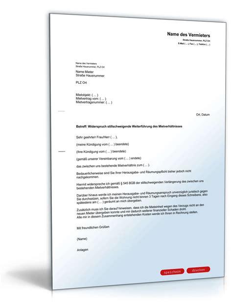 widerspruch kündigung mietvertrag widerspruch stillschweigende weiterf 252 hrung mietverh 228 ltnis