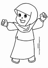 Mewarnai Gambar Coloring Muslimah Muslim Sketsa Akhwat Princess Islami Alat Sekolah Moslem Heaven Gadis Anak sketch template
