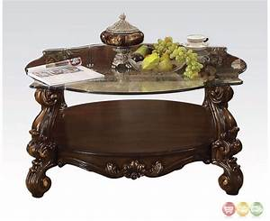 Versailles traditional cherry oak round glass top coffee table for Circular glass top coffee table