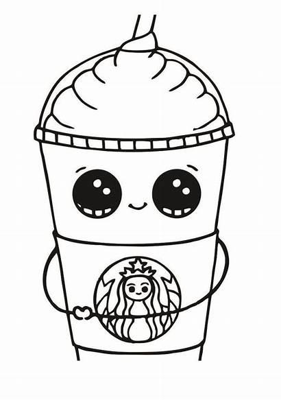 Coloring Starbucks Kawaii Cup Printable Coffee Malvorlagen