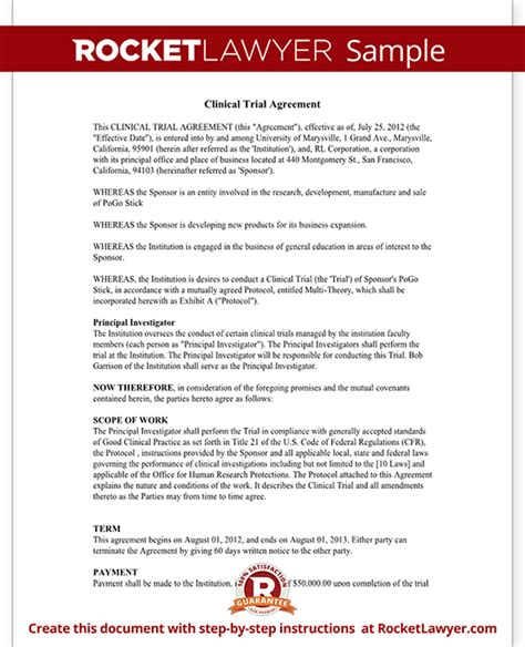 clinical trial agreement contract template  sample