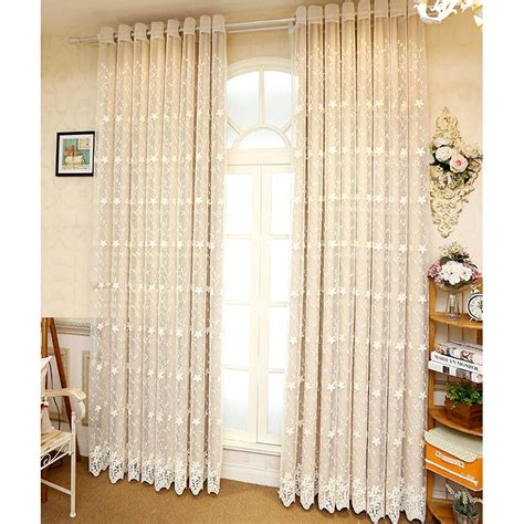 Beige Lace Sheer Curtain With Solid Bedroom Curtain