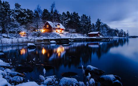 Lake House In Winter 5k Retina Ultra Hd Wallpaper