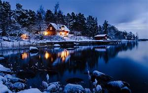 Lake House in Winter 5k Retina Ultra HD Wallpaper and ...
