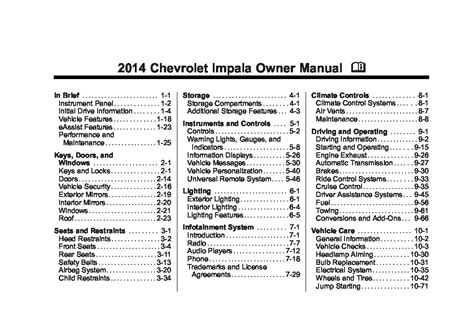 chevrolet impala owners manual  give