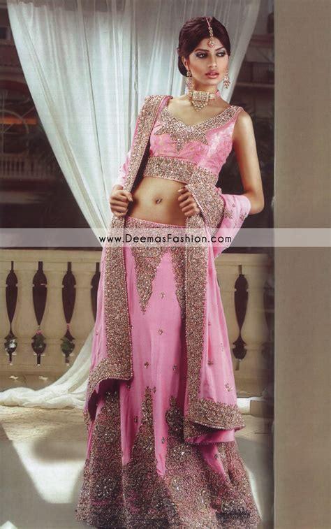 latest indian style lehenga pink golden bridal dress