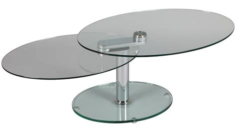 table basse verre ovale articulee ezooq