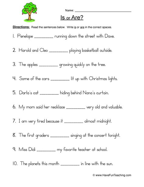 Is Are Worksheet 1