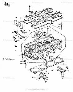 Kawasaki Motorcycle 1978 Oem Parts Diagram For Cylinder Head  Cover   U0026 39 78 C1  C1a
