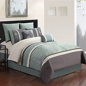 montclair 8 piece comforter set in grey blue bed bath With bed bath and beyond full size sheets