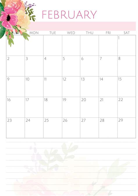 printable  february calendar template  holidays