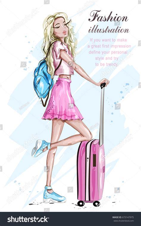 fashion girl suitcase stylish blonde hair stock vector