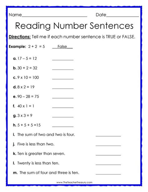 true or false number sentences free math worksheet