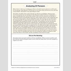 Analyzing O! Pioneers  8th Grade Reading Comprehension Worksheets