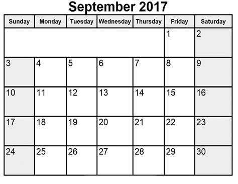 calendar template september 2017 september 2017 calendar printable template