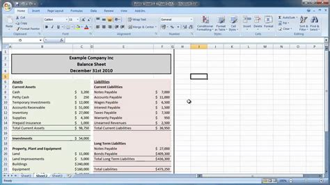 excel    create  balance sheet guide level