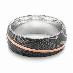 damascus steel and 14k rose gold wedding band 103120 With damascus steel mens wedding rings