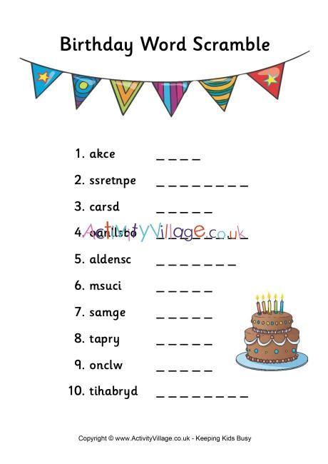 birthday word scramble