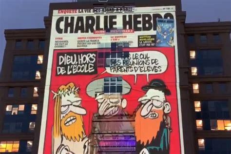 Giant images of Charlie Hebdo cartoons of Prophet Mohammed ...