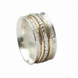 Bicolor Ring 925er Silber Mit Drehbaren Schienen Aus