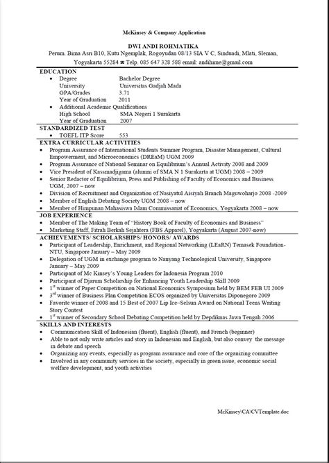 resume mckinsey cv exle free resume cv exle