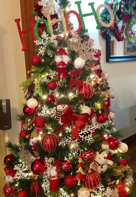 red green  gold christmas tree ideas