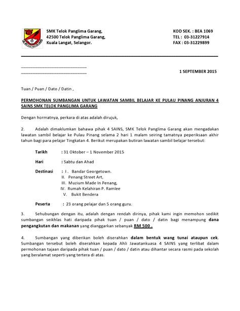 dokumen contoh surat permohonan tajaan