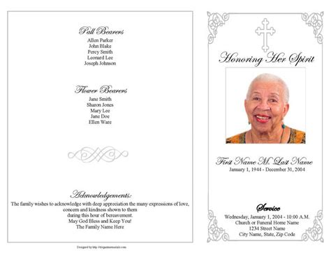 grey ornate cross funeral program template  page