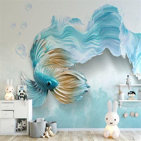 luxury blue fish wallpaper tv backdrop wall mural cartoon photo wallpaper cute animals hd