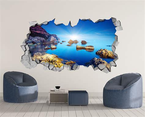 3d Wallpaper Sticker by Sea Landscape 3d Wallpaper Moonwallstickers