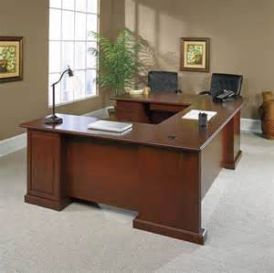 sauder heritage hill outlet executive desk 29 3 4 h x 70 1 2 w x 35 1 2 d classic cherry
