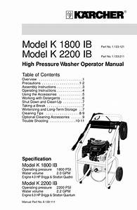 Download Free Pdf For Karcher K 2300 G Pressure Washers