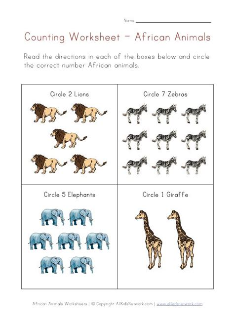 animals counting printable preschool zoo