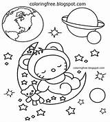 Space Coloring Earth Moon Clipart Planets Planet Solar System Printable Drawing Simple Cartoon Amazing Spaceman Activities Kindergarten Colouring Sheet Colour sketch template