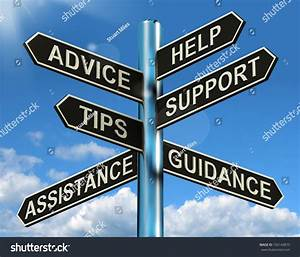 Advice Help Support Tips Signpost Shows Stock Illustration ...