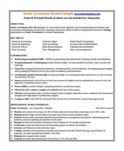 accounting resume template accounting resume sle word