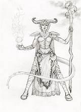 Tiefling Warlock Pages Coloring Sketch Female Deviantart Template Steal Outline sketch template