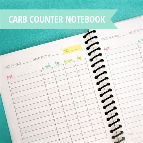 printable carb counter notebook carb counter carb