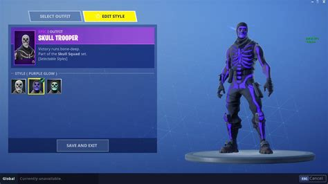 exclusive purple glow variant  original skull trooper