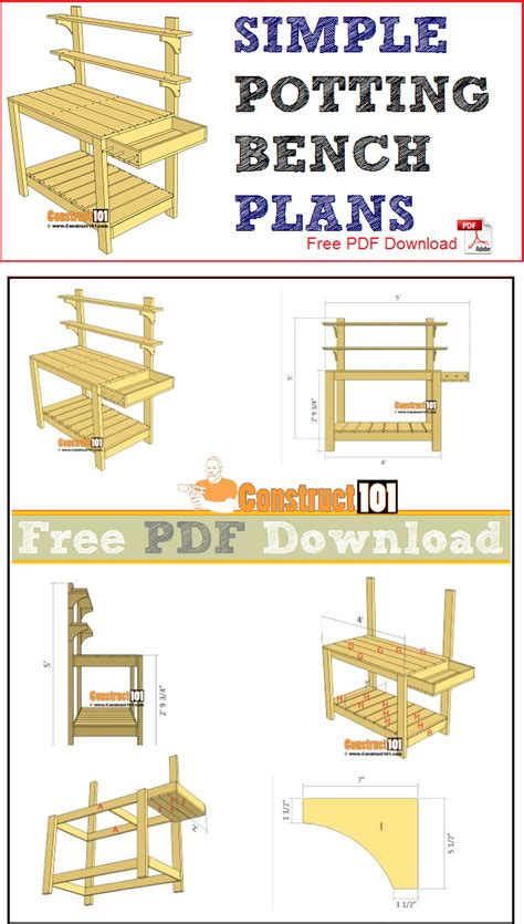 simple potting bench plans   construct